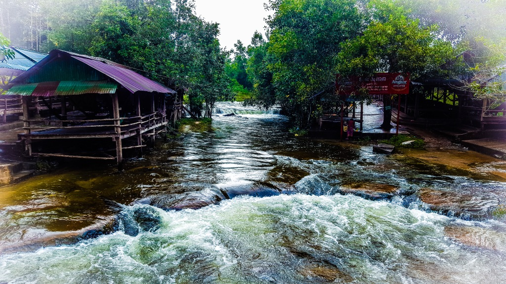 Small village in Cambodia during the rain season