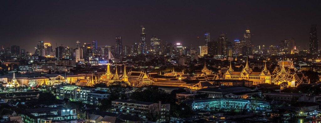 Veduta notturna di Bangkok