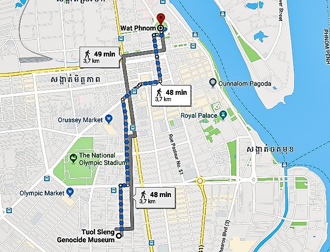 Tragitto  da Museo del genocidio Tuol Sleng a  Wat Phnom